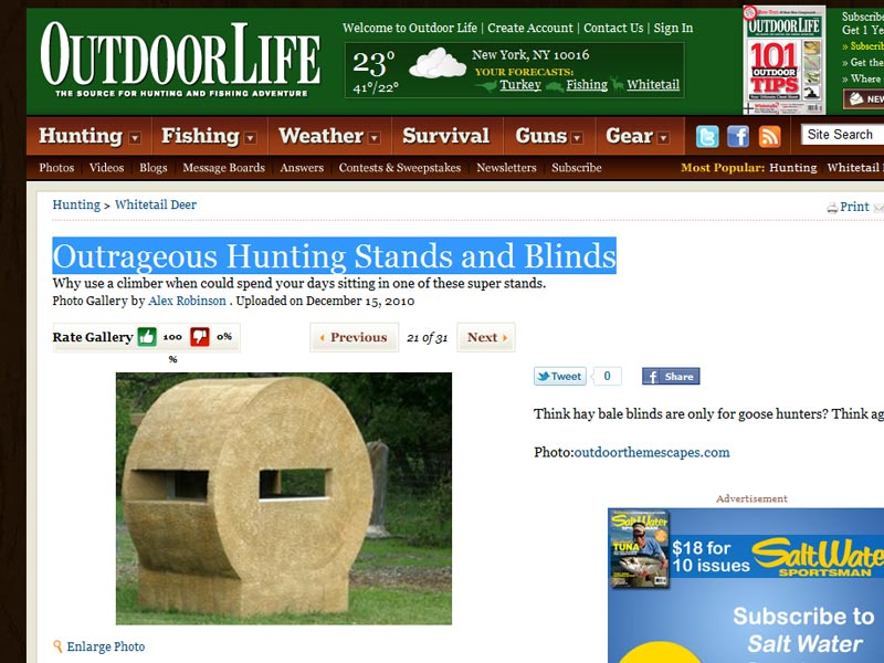 Hay Bale Deer Blind Plans http://outdoorthemescapes.com/2011/02/21/outrageous-hunting-stands-blinds/